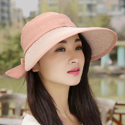草帽女遮阳帽防紫外线防晒帽子新款太阳帽夏季空顶帽圆脸大沿折叠