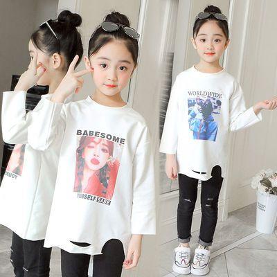 畅销童装儿童2020春装女童打底衫长袖T恤中大童印花中长款白色上