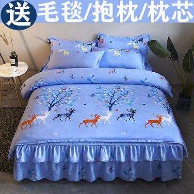 简约加厚床裙四件套被套床罩磨毛像全棉纯棉结婚庆单双人床上用品