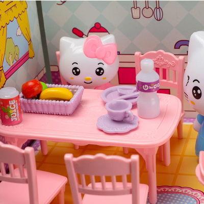 畅销儿童过家家玩具女孩公主hellokitty3D立体套装餐厨房客厅生日