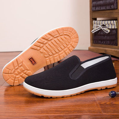 男女士单鞋春夏季防滑厚牛筋底一脚蹬老北京布鞋中老年人懒人工作