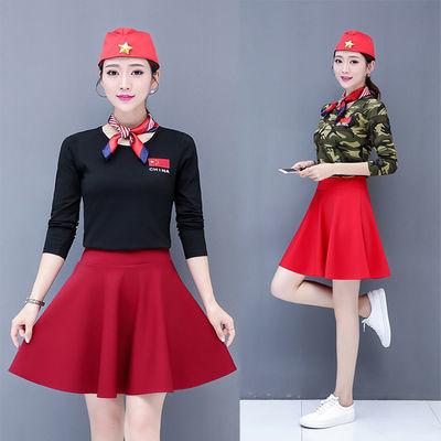 2020水兵舞半身裙宽松韩版显瘦女装夏新款广场舞服装短裙带安全裤