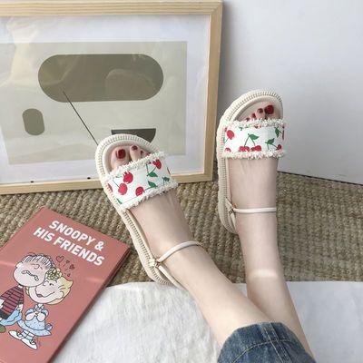 2020夏季甜美松糕厚底凉鞋女学生韩版一字带露趾平底百搭凉拖鞋女
