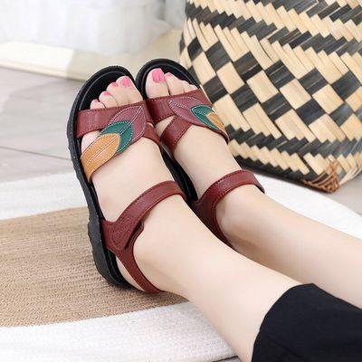 新款夏季女士妈妈拖鞋防水防滑软底中老年人粗跟女鞋合适室内外出