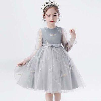 女童连衣裙儿童公主裙2020春夏中大童裙表演主持钢琴纱袖网蓬蓬裙