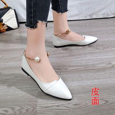 新款新品尖头单鞋女新款百搭女鞋春季平底鞋黑色秋款浅口豆豆鞋子