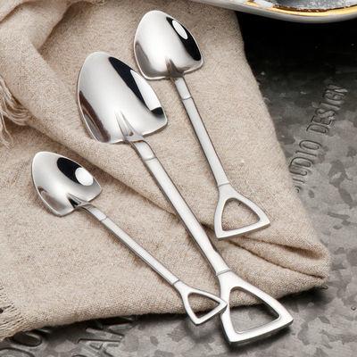 复古加厚优质不锈钢铁锨勺子创意咖啡甜品雪糕搅拌饭勺工兵铲锹勺