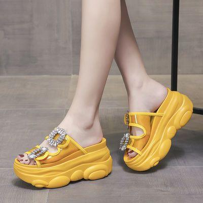 内增高网红拖鞋女外穿坡跟半拖夏2020新款水钻松糕厚底女士凉拖鞋