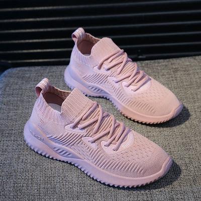 新款新品网面运动鞋女学生春季新款韩版百搭休闲小白鞋透气学生跑
