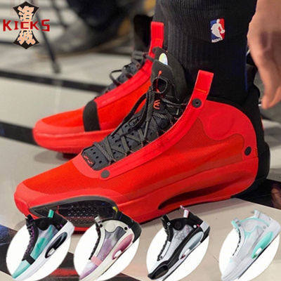 AJ34篮球鞋乔34代巴黎限定新年白炫彩实战镂空蝉翼轻质耐磨气垫鞋