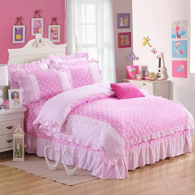 韩版公主风床裙式四件套春夏加厚荷叶边床单床罩蕾丝被套床上用品