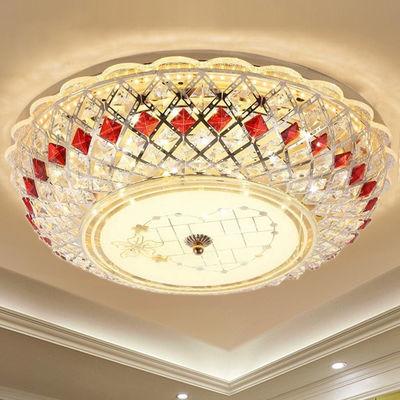 新款LED吸顶灯欧式圆形水晶卧室灯房间餐厅客厅婚房灯具走廊大厅