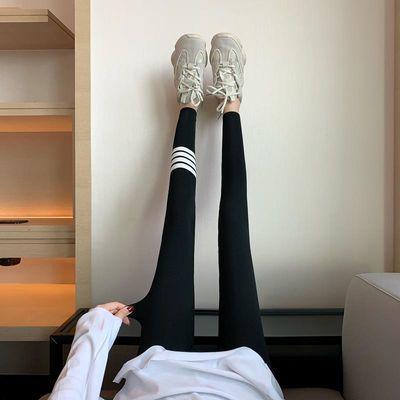 黑色打底裤女外穿春秋款灰色薄款显瘦紧身运动弹力裤袜螺纹瘦腿裤