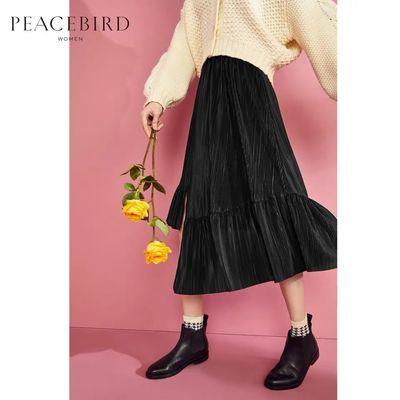 商场同款 鸟家女装新款黑色高腰半身裙不规则百褶长裙女A8GFA1106