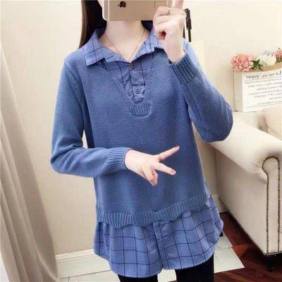 78897/春秋装2021新款衬衫领假两件上衣宽松女士毛衣套头打底针织衫外套
