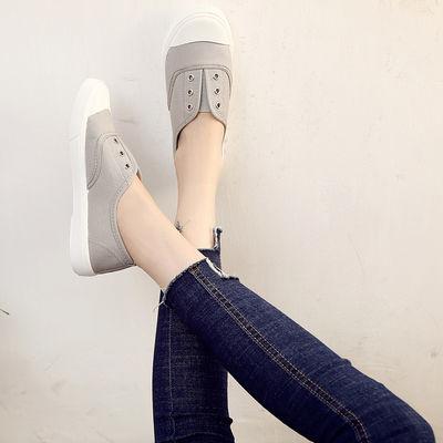新款新品春季新款一脚蹬懒人鞋帆布鞋女百搭小白鞋白布鞋平底休闲