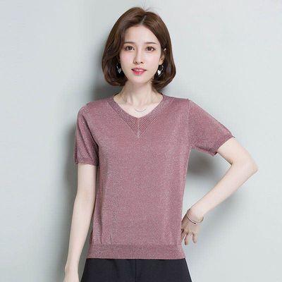 2020夏装亮丝新款V领韩版潮宽松薄款上衣打底针织衫百搭短袖T恤女
