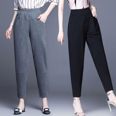 裤子女2020夏季新款韩版宽松显瘦200斤黑色哈伦西裤直筒休闲女裤