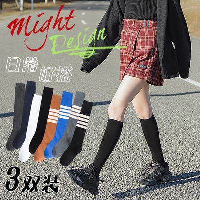 3双装小腿袜女ins风潮流夏季薄款纯棉黑色长袜子日系jk及膝高筒袜