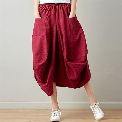 2020年春夏新款女装文艺复古原创棉麻半身裙宽松大码灯笼裙时尚潮