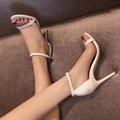 34-43大码凉鞋女夏欧美鱼嘴粗跟性感高跟鞋夜店加大码女鞋41码4