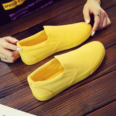 新款新品春季情侣帆布鞋女鞋平底小白鞋一脚蹬懒人街头布鞋黄色女