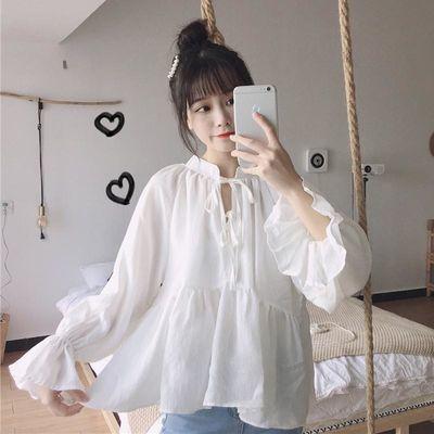 72780/春夏季新款韩版宽松拼接系带立领喇叭袖娃娃衫纯色百搭减龄衬衫女