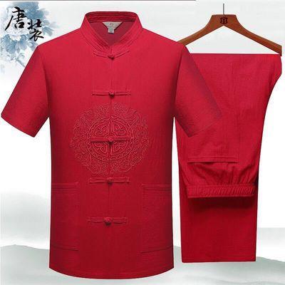 爸爸夏装套装男士唐装汉服中老年人中国风短袖爷爷装老人衣服
