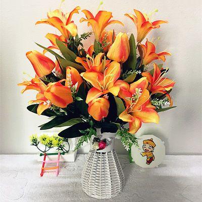 新款花仿真花假花百合郁金香组合花搭配花瓶家居客厅餐桌装饰花摆