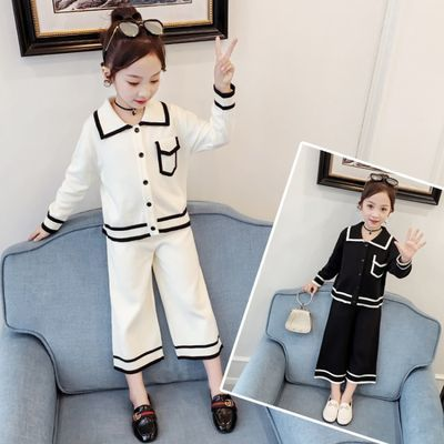 儿童套装女毛衣针织衫两件套2020新款春装小香风童装女宝宝洋气潮