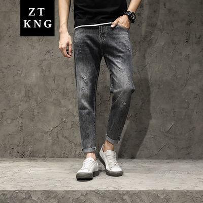 牛仔裤男九分裤2020青年小直筒修身男装时尚简约潮流宽松裤子男