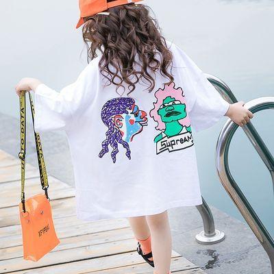 女童中长款短袖t恤2020夏装新款韩版中大童洋气宽松体恤儿童上衣