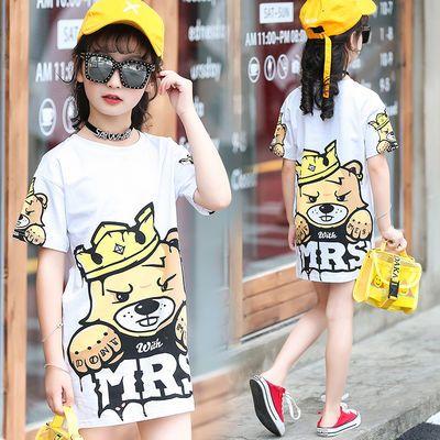 女童T恤夏款洋气中长款儿童韩版时尚休闲短袖圆领上衣女孩宝宝T衫