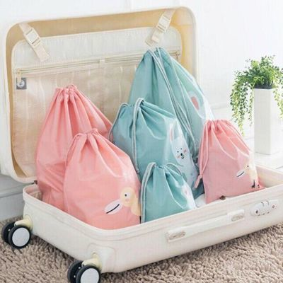 旅行收纳袋套装抽绳束口袋旅游行李箱分装袋【四色可选】卡通防水