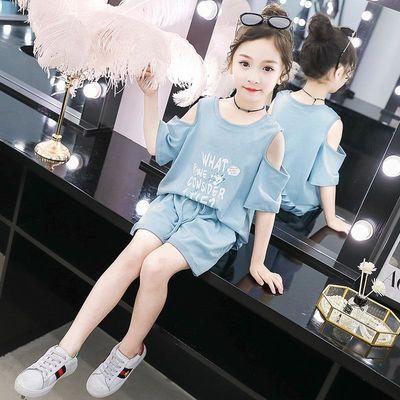 女童套装2020夏装新款儿童超洋气时髦短袖两件套小女孩夏季露肩潮