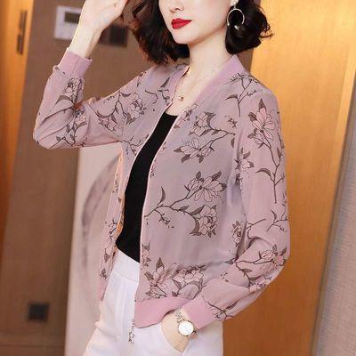 仿真丝防晒衣长袖短外套女2020春夏新款印花宽松棒球服夹克开衫