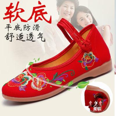 女士老北京布鞋平底绣花鞋女牛筋底古装汉服鞋子民族风妈妈舞蹈鞋