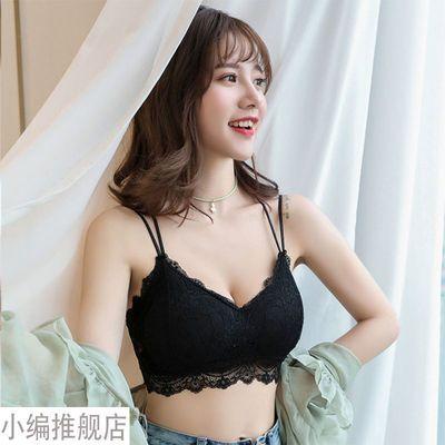夏季短款蕾丝抹胸防走光打底内衣交叉吊带加厚杯胸垫美背裹胸背心
