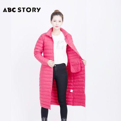 ABC STORY女装轻薄羽绒服修身时尚长款百搭不钻绒春秋外套A2