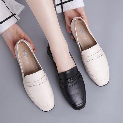 2020春季新款小皮鞋女英伦风复古方头乐福鞋女妈妈鞋真皮粗跟单鞋