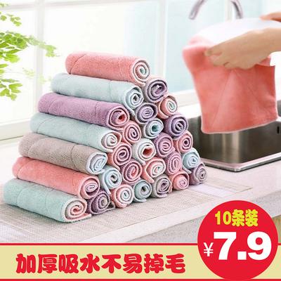 厨房洗碗布不沾油不掉毛吸水干湿两用抹布擦桌擦手多功能百洁布家