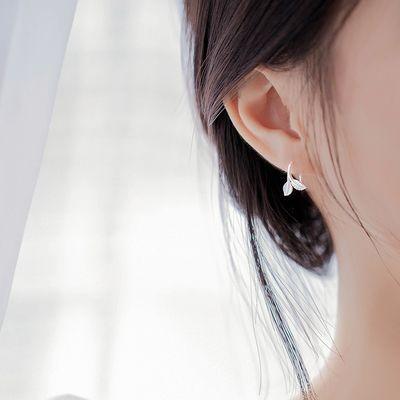 s999纯银耳钉女清新气质耳环韩国潮个性耳夹百搭简约耳钩森系耳饰