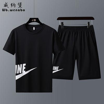 【威纳堡正品】夏季新款短袖短裤休闲套装男装跑步速干运动服套装