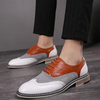 男士商务鞋英伦系带拼色正装单鞋时尚潮流男鞋布洛克西装皮鞋百搭