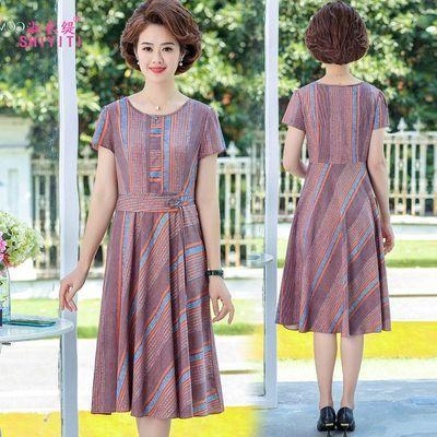 妈妈夏装过膝连衣裙洋气高贵40―50五十岁中年女夏天穿的裙子气质