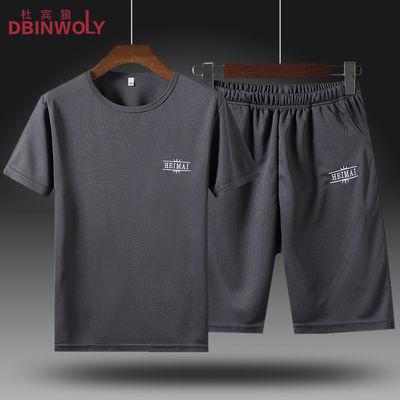 夏季男士套装夏天薄款运动休闲圆领短袖T恤男短裤两件套T恤套装男