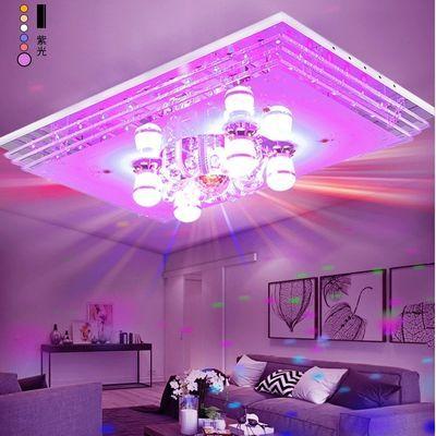 客厅灯 长方形吸顶灯简约现代蓝牙音乐卧室灯饰led水晶灯大厅灯具