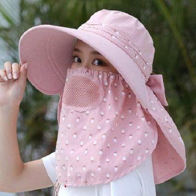 骑车帽子女夏季太阳帽夏天防晒帽女士遮阳帽遮脸防紫外线韩版女帽
