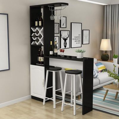 2020新款欧式客厅吧台桌 家用靠墙玄关隔断柜 现代简约钢化玻璃创