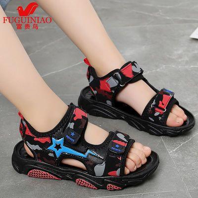 富貴鳥男童涼鞋2020夏季新款兒童涼鞋迷彩韓版學生鞋小孩子沙灘鞋